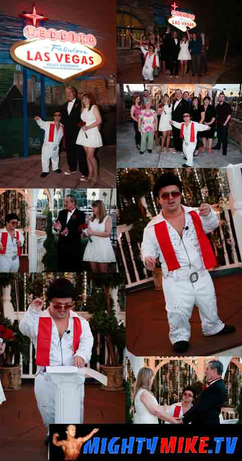 Find a little person Minister as a mini Elvis at 702 Las Vegas wedding Chapple and Banning, Ca