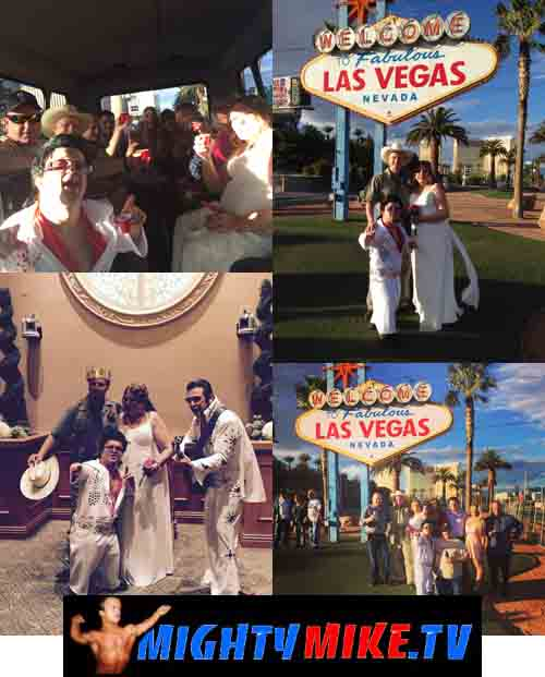 Hire a Dwarf Minister Las Vegas Wedding at Excalibur Chapple with Mini Elvis Mighty Mike and a Las Vegas Strip Bus tour.